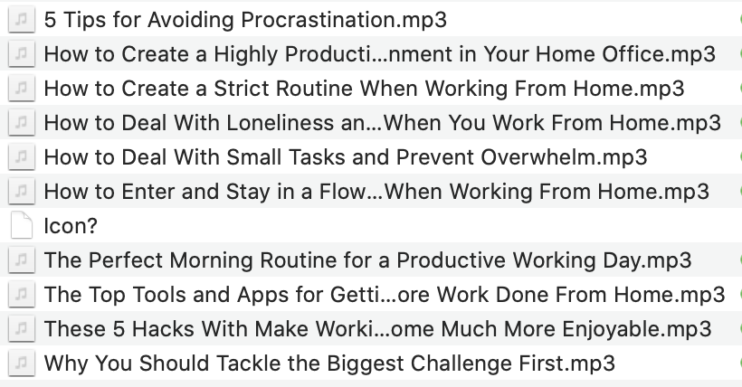 Work from home productivity audio list